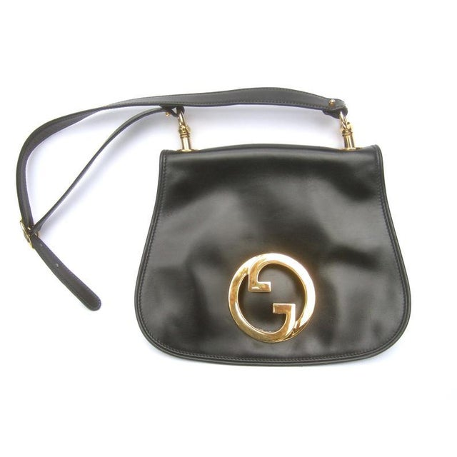 1970s Gucci Italy Ebony Leather Blondie Shoulder Bag For Sale - Image 9 of 11