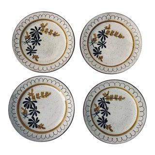 Midcentury Stangl Golden Blossom Hand Painted Pottery Set of 4 Dessert Plates For Sale