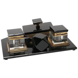 Vintage 1950s Black Glass Desk Set For Sale
