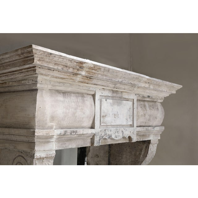 Antique Castle Fireplace of French Limestone, 18th Century, Louis XIII For Sale - Image 4 of 9