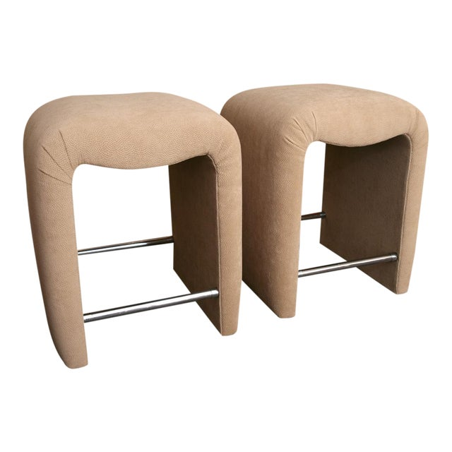Luxe Modern Faux Ostrich Upholstered Stools - Image 1 of 9
