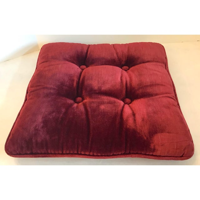 Mid 20th Century Vintage Mid-Century Red Velvet Square Tufted Pillow For Sale - Image 5 of 9