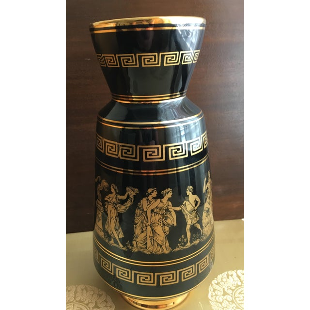 Handmade No. 29 china black vase 24K gold of Athena Dionysus Artemis Apollo. Diameter 16""