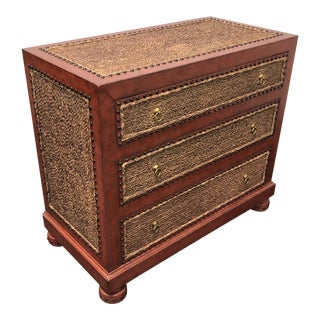Maitland Smith Tooled Leather & Grass Cloth Bachelor Chest For Sale