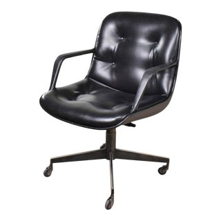 Vintage Modern Black Vinyl Faux Leather Steelcase 451 Office Chair Style Pollock for Knoll For Sale