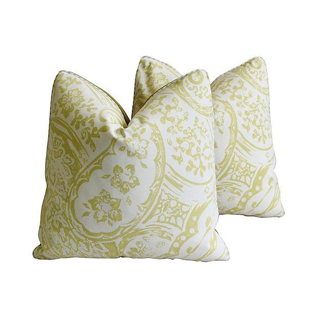 "Designer Lee Jofa Paisley & Mohair Feather/Down Pillows 21"" Square - Pair For Sale - Image 9 of 14"