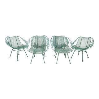 C. 1950s Russell Woodard Sculptura Chantilly Rose Patio Armchairs - Set of Six For Sale