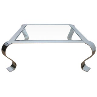 Polished Steel and Glass Coffee Table For Sale