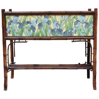 Late 19th Century Majolica Iris Tiles & Bamboo Jardinière For Sale