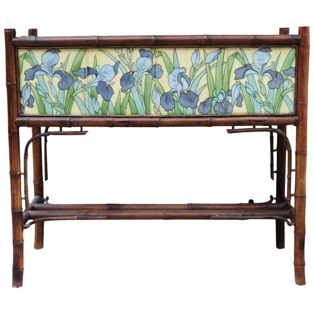 Late 19th Century Majolica Iris Tiles & Bamboo Jardinière   Chairish
