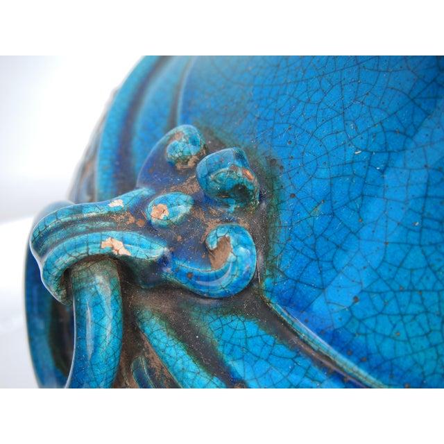 Ceramic Pair of Italian Mid-Century Turquoise Glazed Lamps For Sale - Image 7 of 10