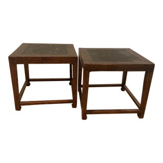 Chinese Stools With Woven Rattan Top - a Pair For Sale