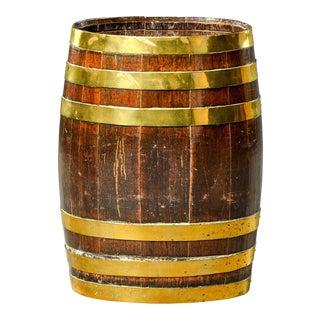 Late 19th Century English Brass Bound Oak Barrel For Sale
