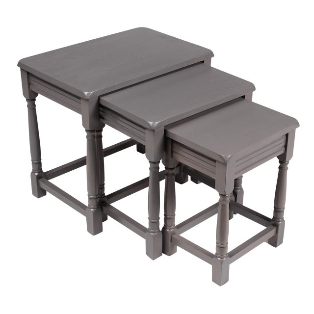 Jacobean-Style Gray Nesting Tables - Set of 3 - Image 1 of 6
