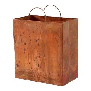Vintage Italian Brass Shopping Bag Trash Bin / Magazine Holder For Sale