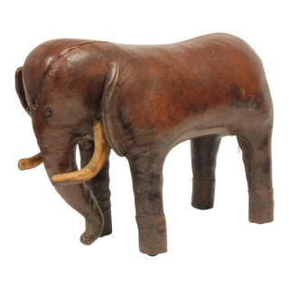 Vintage Omersa for Abercrombie and Fitch Leather Elephant Footstool For Sale