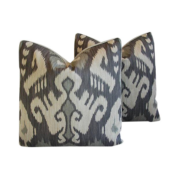 Custom Tailored Castel Gray/Taupe Radha Ikat Feather/Down Pillows - Pair For Sale