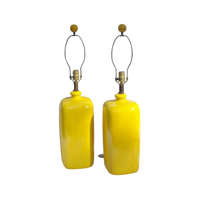 Mid Century Modern Vibrant Yellow Lamps - Pair - Image 1 of 8