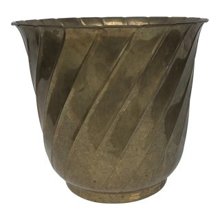 Large Brass Fluted Jardiniere Planter