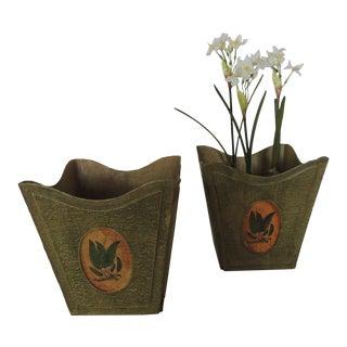 Pair of Green Folding Papier-Mache Jardinières For Sale