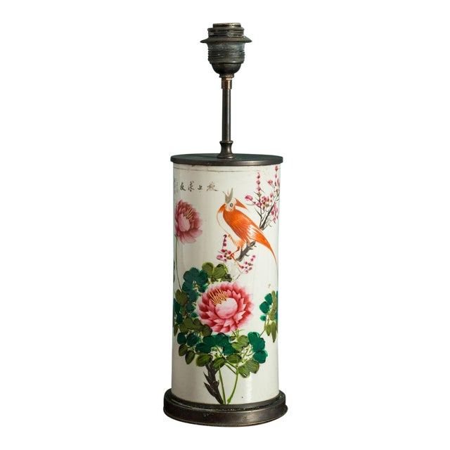 Hand-Painted Japanese Custom Lamp For Sale