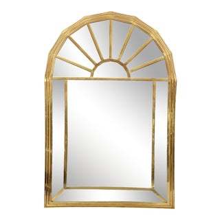 Vintage Hollywood Regency Gold Brass Sunburst Panel Mirror - 2x3 For Sale