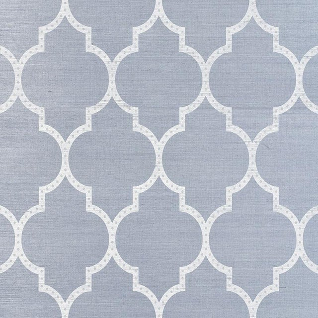 Schumacher Algiers Sisal Wallpaper in Chambray For Sale