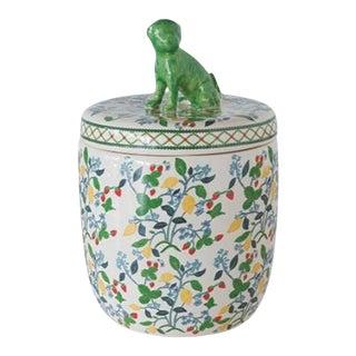 Floral Pug Dog Topped Jar For Sale