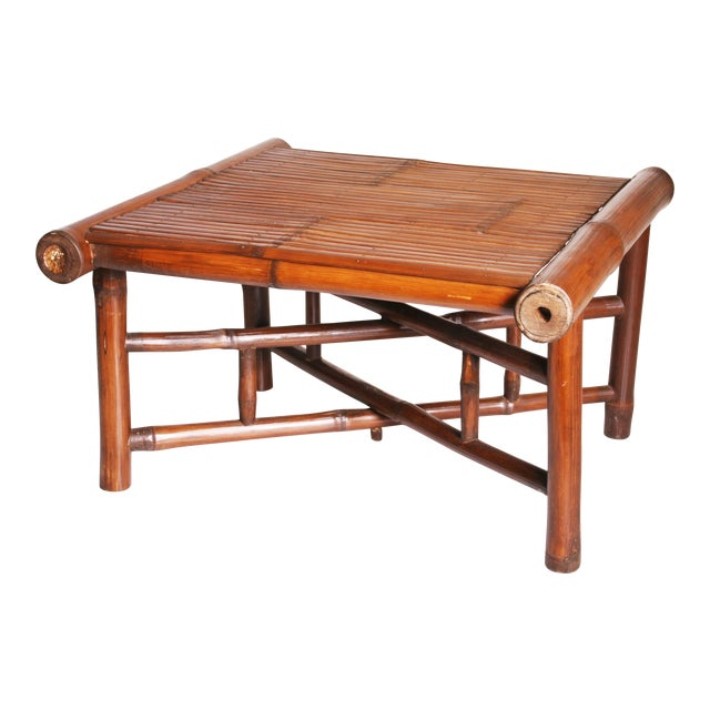 Vintage Brown Bamboo Coffee Table - Image 1 of 11