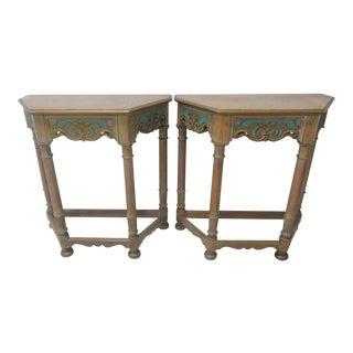 Jacobean Oak Paint Decorated Console Tables, 1920s - A Pair For Sale