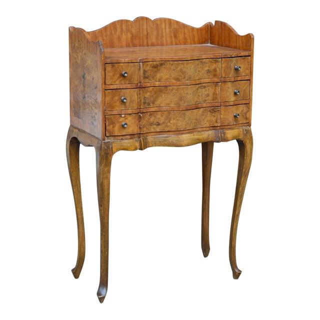 Italian Louis XV Style Three Drawer Burl Wood Nightstand / Cabinet For Sale
