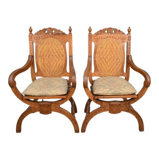 20th Century Walnut Carved and Caned Armchairs - a Pair For Sale