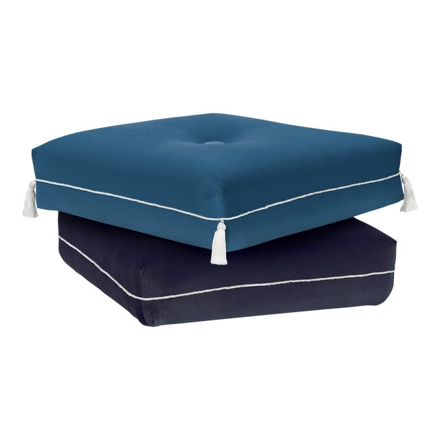 Two-Tone Turkish Ottoman, Blue and Navy Blue For Sale