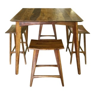Wooden Bar Table & Stools - Set of 5