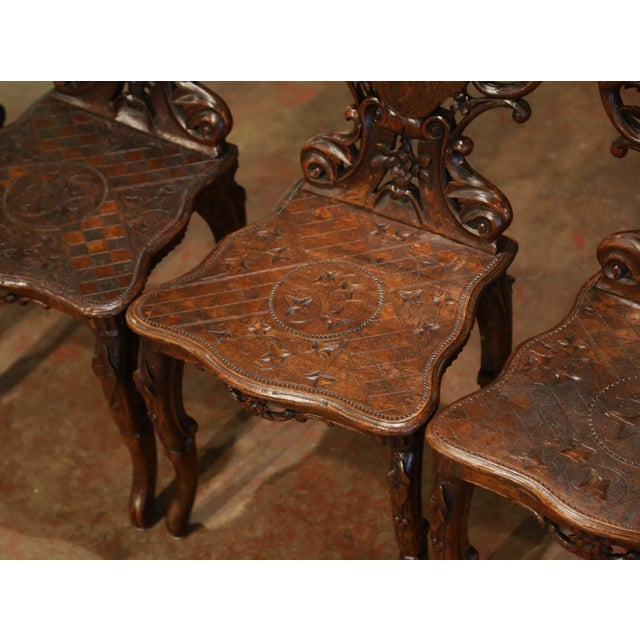 Mid 19th Century Set of Four 19th Century French Black Forest Carved Walnut Chairs For Sale - Image 5 of 13