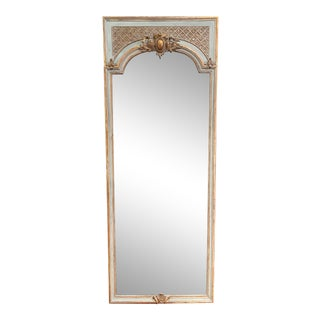 19th Century Louis XVI Parisian Carved Painted and Gilt Trumeau Mirror For Sale