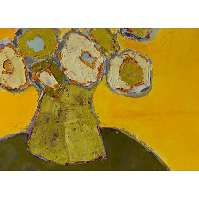 """Bill Tansey """"Yellow"""" Abstract Floral Oil Painting on Canvas For Sale - Image 4 of 5"""
