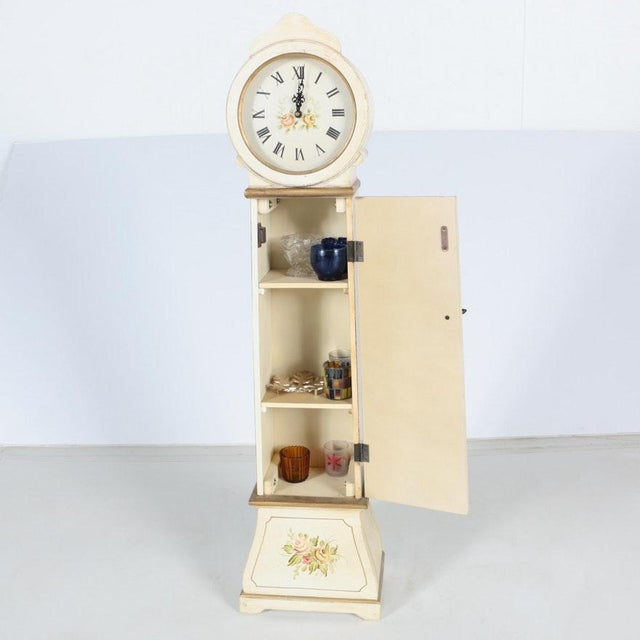 Wood White Grandmother Wooden Clock With Hidden Shelves For Sale - Image 7 of 10