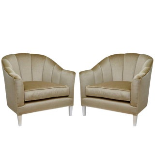 Pair of Lounge Chairs in Luxurious Mohair For Sale