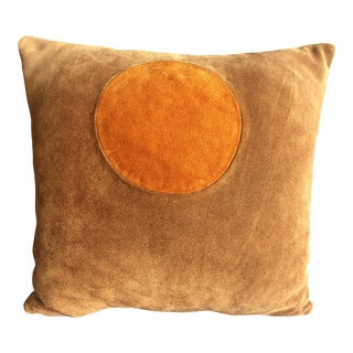 "1970s Mid-Century Suede 14"" Reversible Pillow For Sale"