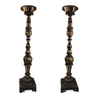 Monumental Pair of Ornate Baroque Carved Wood Torchieres For Sale