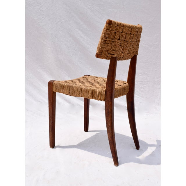 Mid 20th Century Teak Mid Century Modern Side Desk Rope Chair For Sale - Image 5 of 12