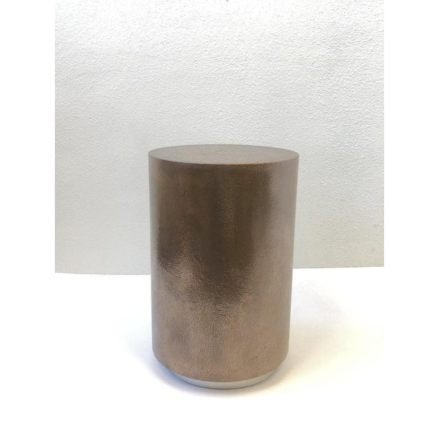 Steve Chase 1980s Bronze and Chrome Drum Table by Steve Chase For Sale - Image 4 of 8