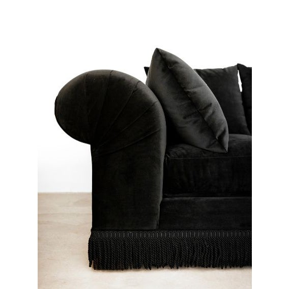 Contemporary Black Velvet Roll Arm Sofa with Fringe For Sale - Image 3 of 5