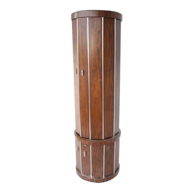 Cylinder Shape Liquor Bar Cabinet Walnut For Sale