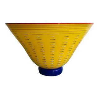 Pizzichillo Gordon Hand Blown Yellow Art Glass Bowl For Sale