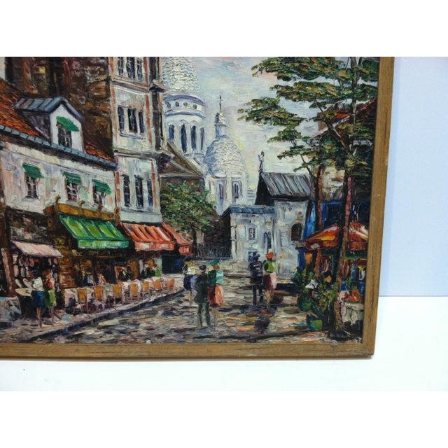 "Modern Vintage Mid-Century ""Sidewalk Dining"" Original Canvas Painting For Sale - Image 3 of 7"