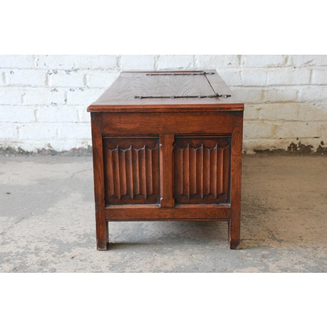 Antique Belgian Gothic Revival Carved Oak Blanket Chest, Circa 1900 For Sale - Image 9 of 13
