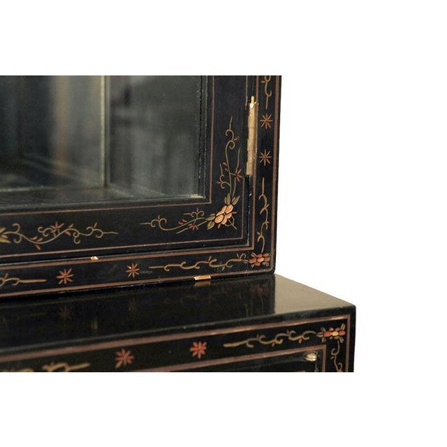 Monumental Black Lacquer and Gold Leafed Chinoiserie Breakfront - Image 2 of 6