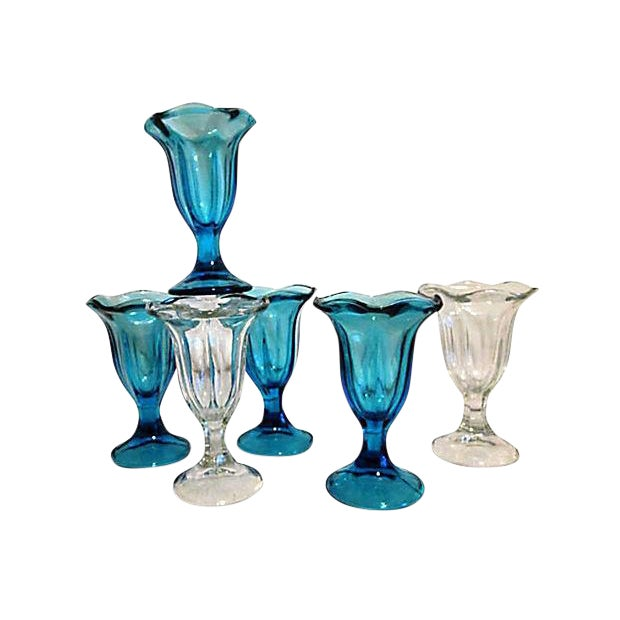 Midcentury Blue & Clear Parfait Glasses - S/6 - Image 1 of 3